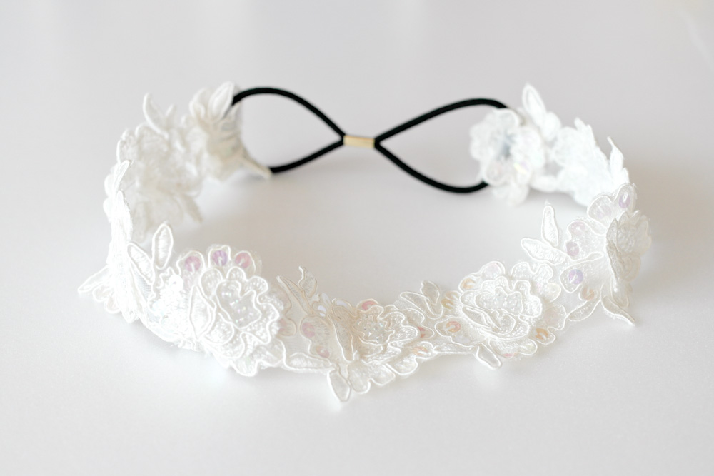 White flower sequin lace elastic headband for bridal on luulla white flower sequin lace elastic headband for bridal mightylinksfo